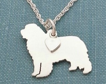 Newfoundland Dog Necklace, Sterling Silver Personalize Pendant, Breed Silhouette Charm Rescue Shelter, Gift