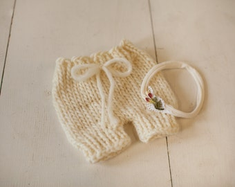Wool Knit Short and Headband Set for Baby Girl, Beautiful Newborn Photo Prop and Ready to Ship