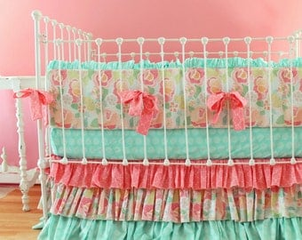 Baby Girl Crib Bedding in Mint Peach and Coral for Custom 3-Piece Nursery Set, Baby Bedding Bumper, Sheet, and Skirt in Shabby Chic Design