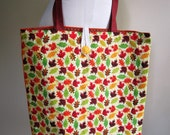 Fall Tote Bag Harvest Autumn Leaf Lined Grocery Farmer's Market Reusable - Size Large