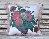 PINK SHABBY ROSES Vintage Irish Linen Tea Towel Cushion Upcycled Repurposed Floral flowers Pillow Cushion fringe trim