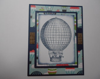 Handmade Birthday Card, Hot Air Balloon, For Him, For Her