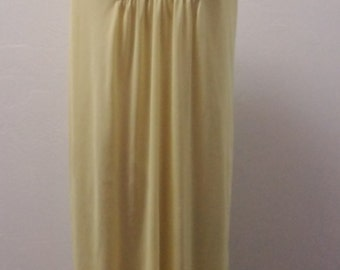 1970s Nylon Nightgown by JC Penney, Embroidery at Chest, Yellow, Size M, 34/36 Bust Area, #52957