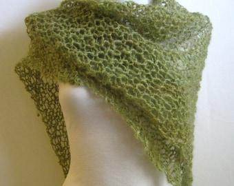 Green Hand Knit Shawl / Shawl with Gemstones / Handspun Wool Wrap / Sage / Peridot / Spring Green / Hand Dyed Shawl