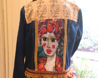 Art To Wear~Embellished Denim Jean Jacket~Boho Gypsy Style
