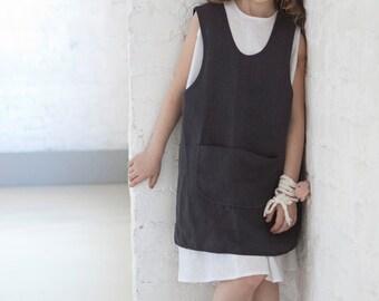 Girls clothes Linen pinafore apron dress Kids retro apron cross back Dark gray Linen dress