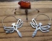 Dragonfly hoop earrings, dragonfly jewelry, metal insect earrings