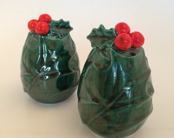 Vintage Lefton Salt and Pepper shakers - Green Holly Christmas Lefton