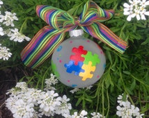 Puzzle Ornament - Personalized Ornament - Hand Painted Bauble, Autism Awareness, ASD, Autistic,  jigsaw puzzle piece, rainbow colors