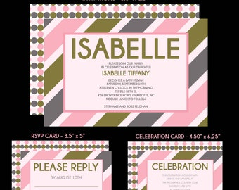 Bat Mitzvah Invitations - Pink, Grey, White - Customize Color, Pattern and Design - Add RSVP Card, Thank You Notes and Envelope Addressing