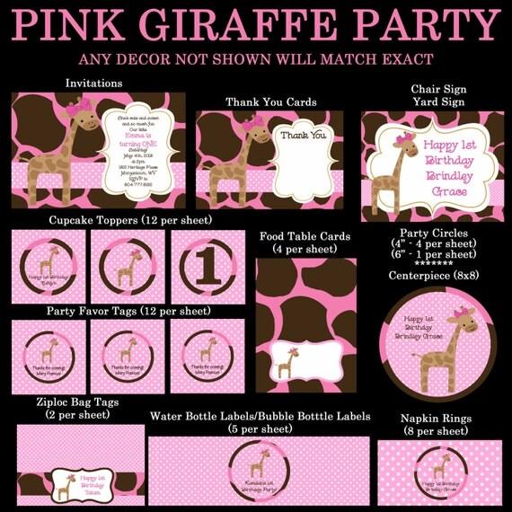 Pink Giraffe Birthday Invitation, Party Decorations, Party Supplies, Party Collection, Birthday Decorations