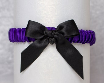 Black Heart Garter, Purple Satin, bow & crystal. Bride, Bridal, Prom, Rockabilly, Burlesque, Goth, Lolita, Hen Night, Bachelorette, Couture