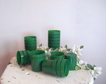 "Vintage collection 20 green plastic small flower pots succulent pots drainage 2 1/2"" green pots seed starter plants wedding decor"
