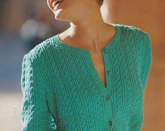 Vintage Summer Fashion Short Sleeve Cable Knit Sweater PDF Pattern