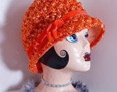 Vintage Orange Raffia Straw Loop & Velvet Bow Cloche Hat Mid Century Fashion Retro Flapper Style