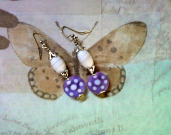 Lavender and White Spotted Earrings (2008)