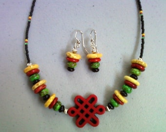 Red, Black, Green and Yellow Magnesite Necklace and Earrings (0190)