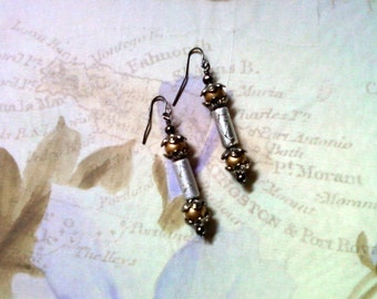 Silver, Gold and Black Earrings (1755)