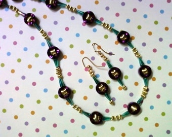 Metallic Purple, Teal Blue and Gold Necklace and Earrings (2051)