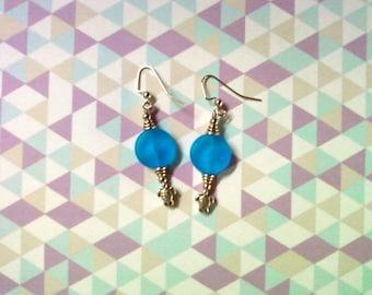 Aqua Blue Sea Turtle Earrings (2068)