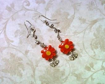 Orange Flower Earrings (1497)