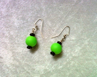 Neon Green and Black Earrings (1139)