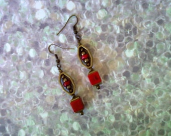 Red and Brass Earrings (1772)