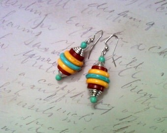 Turquoise, Golden Yellow and Brown Southwestern Earrings (1593)