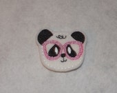 Feltie Machine Embroidered Hand made (4) Felt Panda CUT Embellishments / appliques