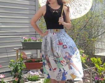 Plus Size Ghostbusters Pleated Full Skirt, A-Line, Vintage Fabric