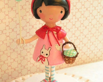 Traditional Little Red Riding Hood Birthday Cake Topper Party Decoration  Girl Kids One Children Red Pink Child Handmade Vintage Fairy Tale