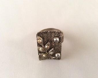 Vintage German Silver Leaf Ring