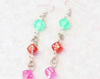 Roll the Dice - Pastel Dice Earrings in Green Red and Pink - Bunco Jewelry - Las Vegas Baby