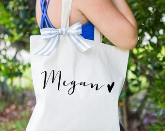 Personalized Bag Gift for Bridesmaids, Wedding Tote Bags Canvas w/Ribbon Gift for Wedding Bridal Party, Birthday Gift ( Item - BPB300)