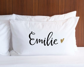 Pillowcase Personalized Name Pillow Gift Black Design Gold Glitter - Gifts for Girls Wedding Bridal Shower Birthday Etc. (Item - PCP410)