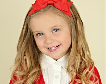 Red Headband with Bow, Uniform Hair Accessories, Big Red Bow Headband, Red Hair Bow Headband, Girls Headbands with Bows, School Headbands