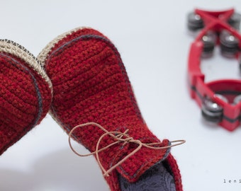 Slippers House Shoes with Leather Sole in rusty red with dark grey trim - all adult shoe sizes US 4-12 EUR 35-46