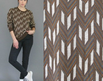 1970's CHEVRON Geometric Pattern Sweatshirt Jumper Brown and Rainbow S // M