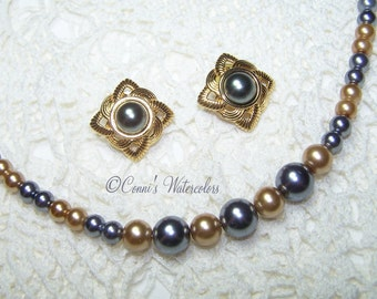Demi Faux Pearl Jewelry Set Grey & Champagne Pearl Necklace w/ Married Grey Pearl Earrings- Really pretty vintage demi parue set!