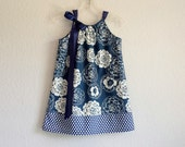 Little Girls Navy Blue Pillowcase Dress - White Roses and Polka Dots on Navy Blue - Size 12m, 18m, 2T, 3T, 4T, 5, 6, 8, or 10