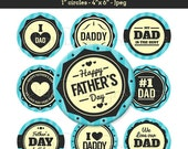 Father's Day Bottle Cap Image Sheet - I love Dad Sayings - 1 Inch Circles Digital Collage - Instant Download - NO.242