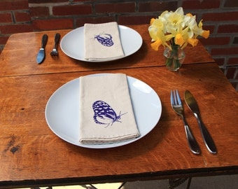 Cotton Napkins - Butterfly hand screen printed set of 2 dinner napkins - ecofriendly - reusable napkins for your table setting