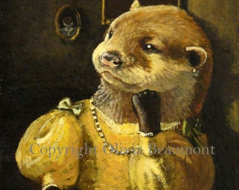 "Otter art- ""Lady in a Window"" - print 5x7"