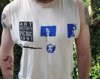 1991 - Art History Picnic - NOMO POMO - No More Post Modernism movement, rally, avant-pop, picnic event, sleeveless t-shirt - men's sz M/L