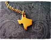 Tiny Gold Texas Necklace - 24kt Gold Dipped Texas Charm on a Delicate 14kt Gold Filled Cable Chain or Charm Only