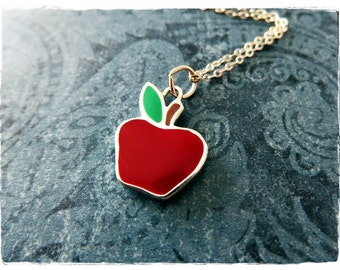 Red Apple Necklace - Red Enameled Sterling Silver Apple Charm on a Delicate Sterling Silver Cable Chain or Charm Only