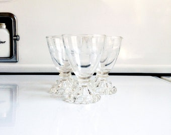 Mid Century Wine Glasses / Anchor Hocking Berwick Boopie / Set of Five
