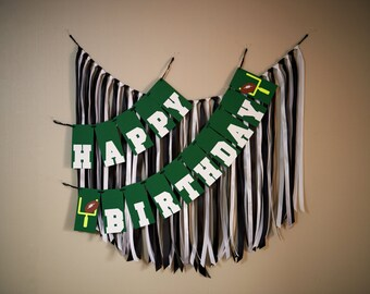 1st Birthday Boy Decorations.  Ships in 2-5 Business Days.  Football Birthday Party Happy Birthday Banner.  (Ribbon Garland Sold Separately)