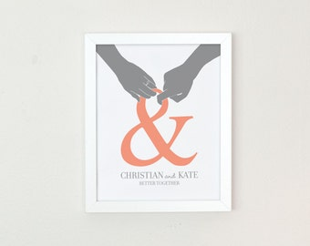 Wedding Gift for couple, hands and ampersand print, same sex wedding gift, personalized home decor