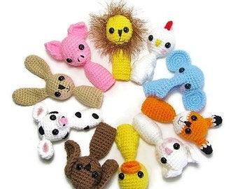 Animal Finger Puppets for Toddlers & Kids Finger Puppets - Finger Puppets - Childrens Toys - Kids Toys - Crocheted Animal Finger Puppets